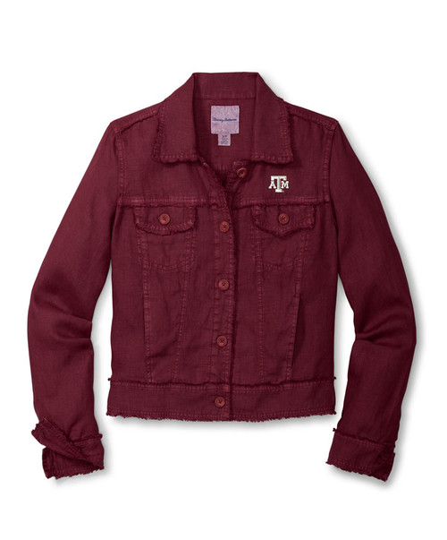 Tommy Bahama Women's Maroon Sport Two Palms Raw Edge Long Sleeve Jacket