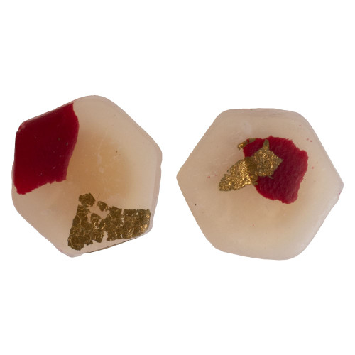 Women's Gold and Maroon Speckle Stud Earring