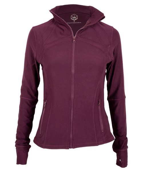 Women's Maroon Full Zip-Up Lightweight Yoga Workout Track Jacket with Thumbholes