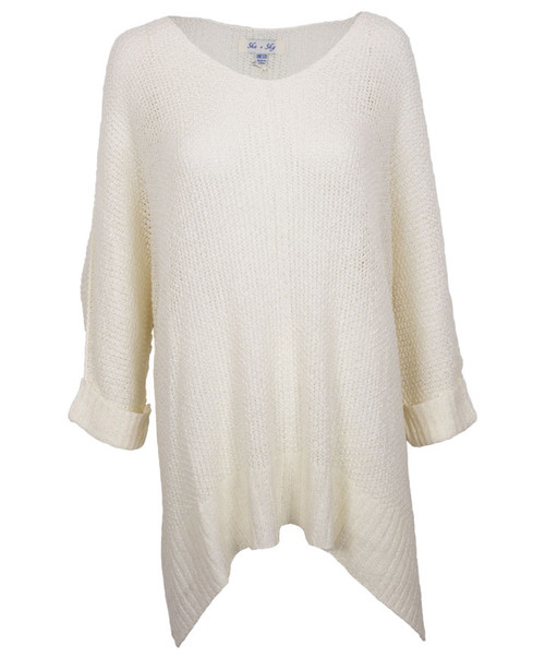 Women's Off White Hi Low Knit Sweater