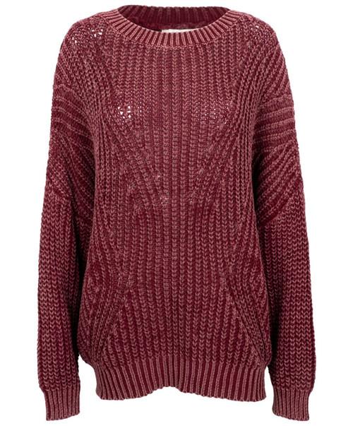 Women's Plus Size Heather Maroon Long Sleeve Open Back Pullover Knit Sweater