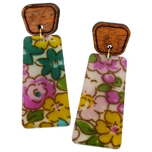 Uniquely Mesquite Women's Vintage Floral Pink Earrings