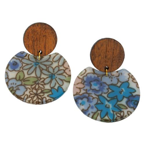 Uniquely Mesquite Women's Vintage Floral Blue Earrings