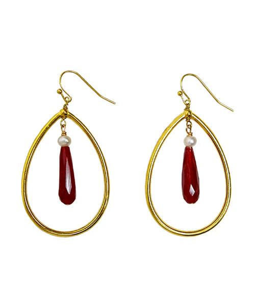 Julio Designs Women's Gold Teardrop Chain Earring
