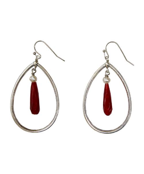 Julio Designs Women's Silver Teardrop Chain Earring