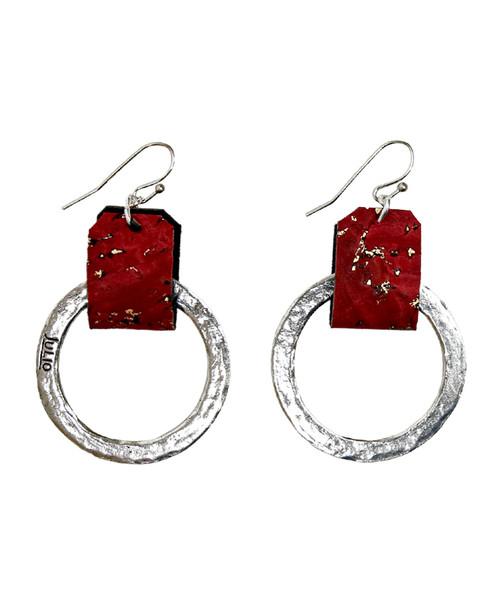Julio Designs Women's Silver Small Cork Earring