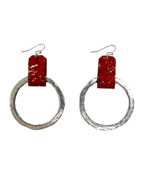 Julio Designs Women's Silver Large Cork Earring