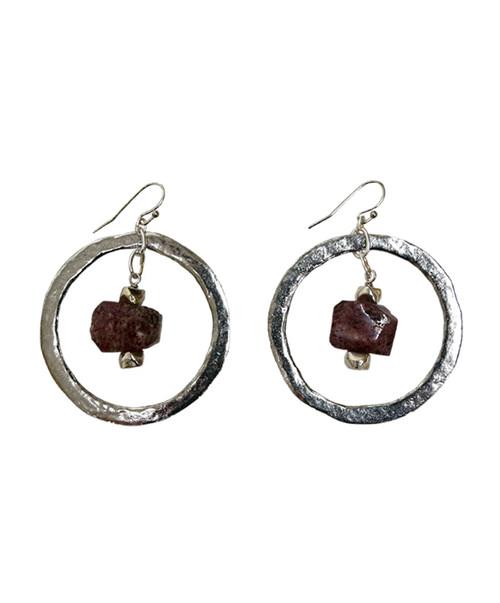 Julio Designs Women's Silver Gemstone Nugget Earring