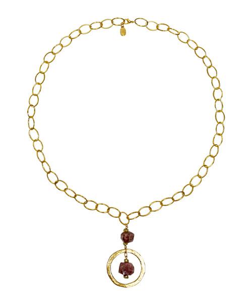 Julio Designs Women's Gold Gemstone Nugget Necklace