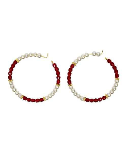 Julio Designs Women's Gold Beaded Hoop Earring