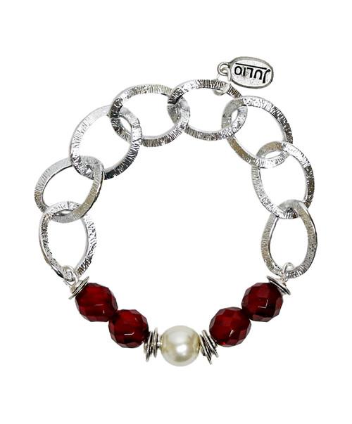 Julio Designs Women's Silver Skittles Chain Bracelet