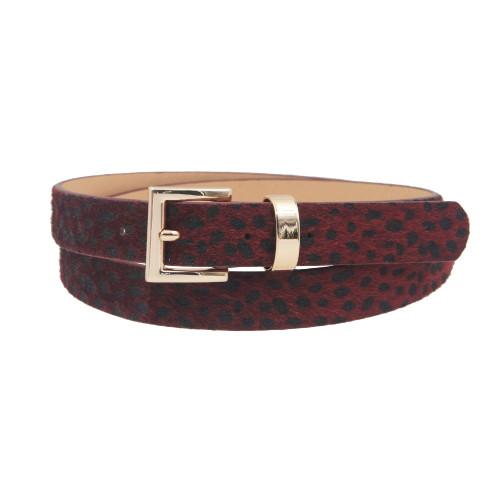 Women's Maroon Leopard Print Belt