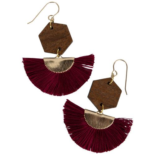 Uniquely Mesquite Women's Maroon Tassel Earrings