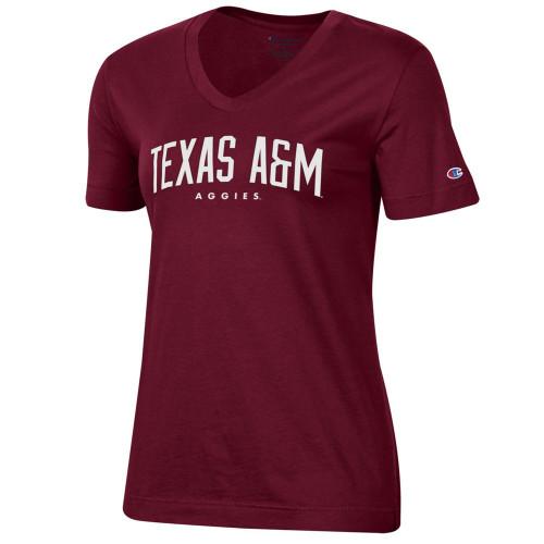 Champion Women's Maroon University 2.0 Short Sleeve V-Neck T-Shirt
