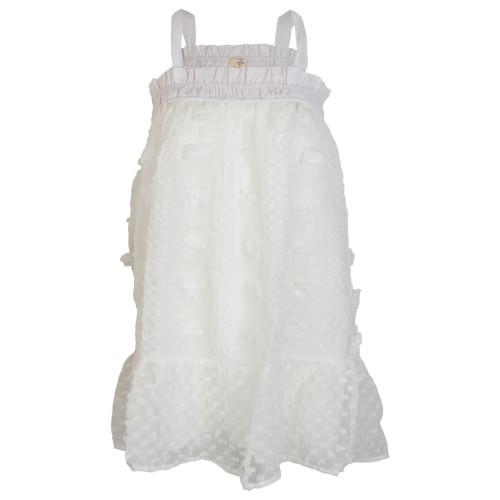 Women's Off White Dotted-Swiss Smocked Mesh Lightweight Dress