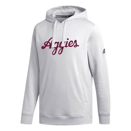 Adidas Men's White Script Aggies Fleece Hood
