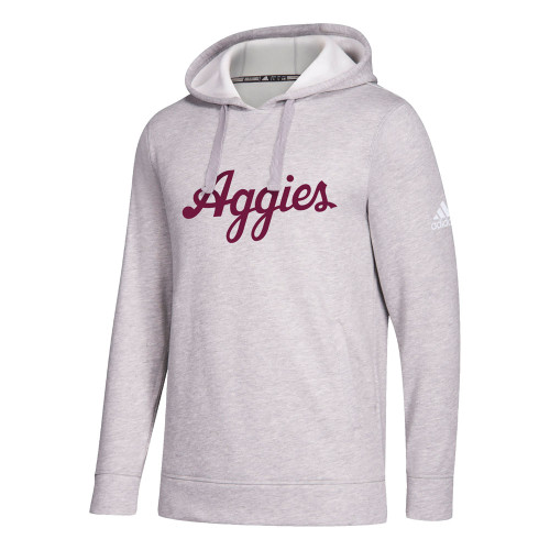 Adidas Men's Grey Script Aggies Fleece Hood