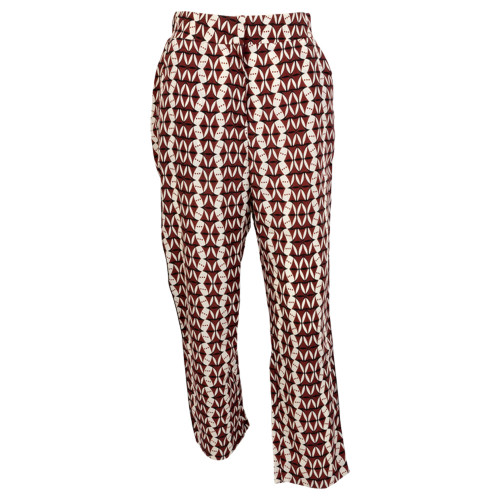 Women's Maroon and White Geo Trouser Pant