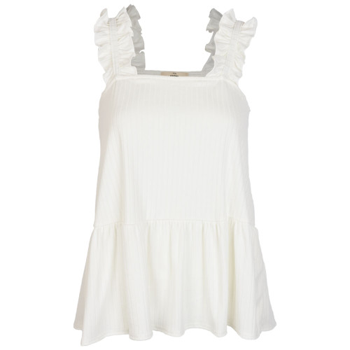Women's Ivory Solid Ribbed Square Neck Peplum Top