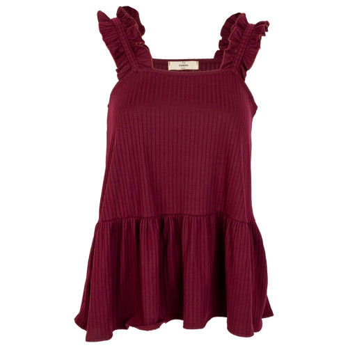 Women's Maroon Solid Ribbed Square Neck Peplum Top