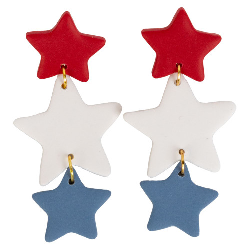 Purely Clay Women's  Red, White and Blue Glory Earrings