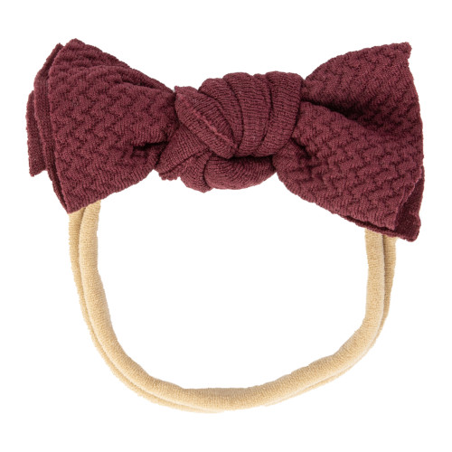 Maroon Infant Messy Knot Bow Headband