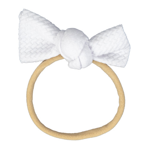 White Infant Messy Knot Bow Headband