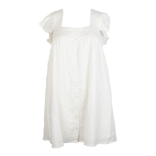 Women's Off White Babydoll Square Neck Button Dress