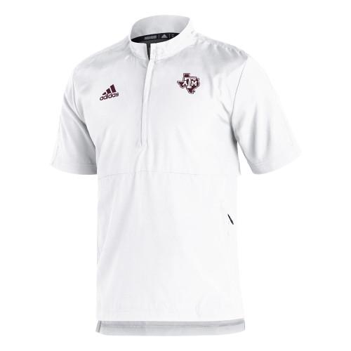 Adidas Men's White Sideline Short Sleeve 1/4 Zip