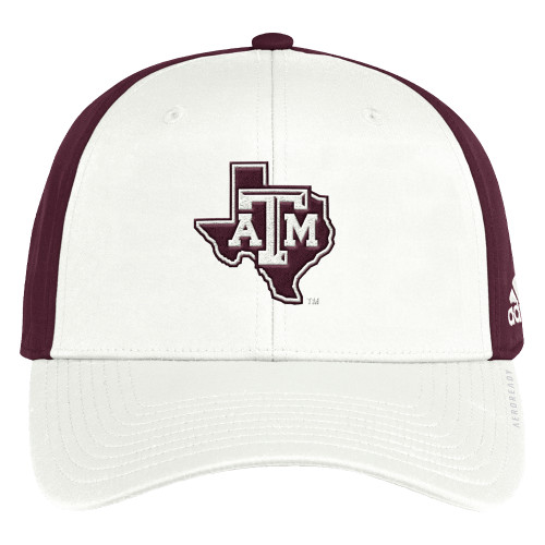 Adidas Men's White and Maroon Coach Slouch Flex Cap