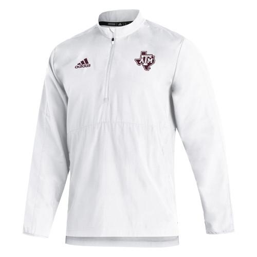 Adidas Men's White Sideline Long Sleeve 1/4 Zip