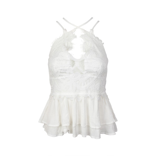 Women's Off White Lace Tiered Peplum Top
