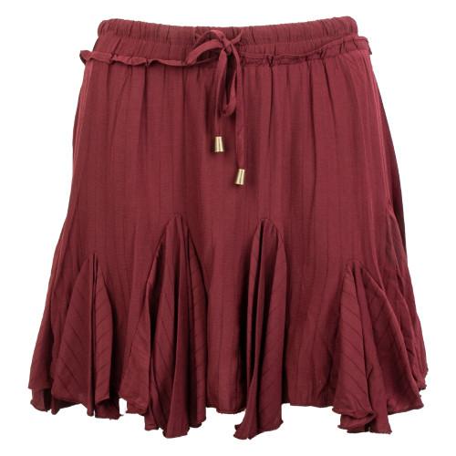 Women's Maroon Solid Ruffle Skirt