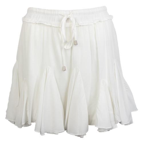 Women's Off White Solid Ruffle Skirt