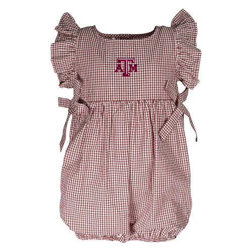 Garb Infant Maroon and White Jada Woven Gingham Dress