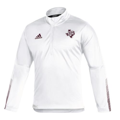 Adidas Men's White Sideline Long Sleeve 1/4 Zip Knit