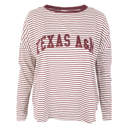 UG Apparel Women's Maroon and White Modern Boxy Striped Top