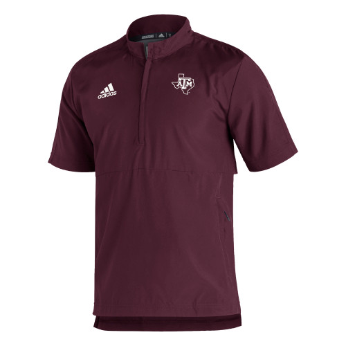 Adidas Men's Maroon Sideline Short Sleeve 1/4 Zip