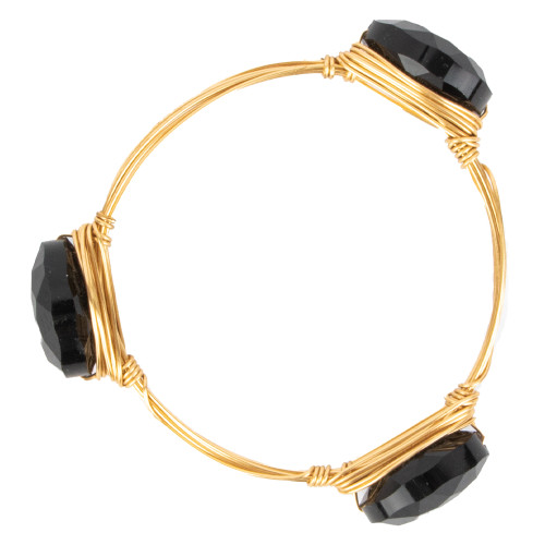 Women's Black Stone Wire Bangle