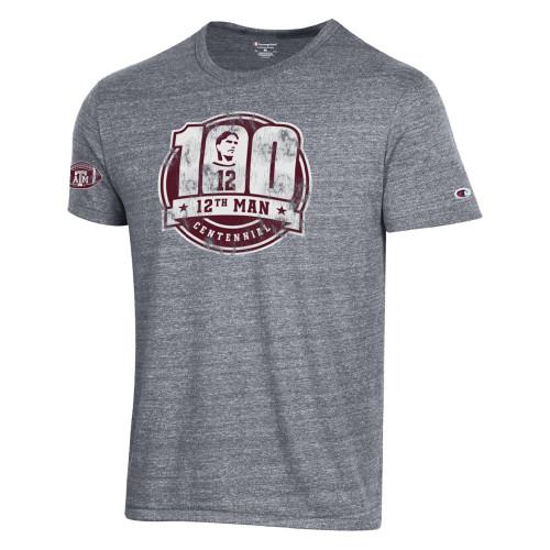 Champion 12th Man Centennial Gunsmoke Tri-Blend Short Sleeve Tee