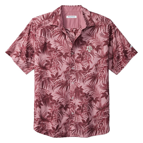 Tommy Bahama Men's Maroon Sport Printed Reign Forest Fronds Short Sleeve Shirt