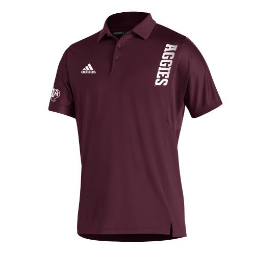 Adidas Men's Maroon Sideline Coordinator Short Sleeve Polo