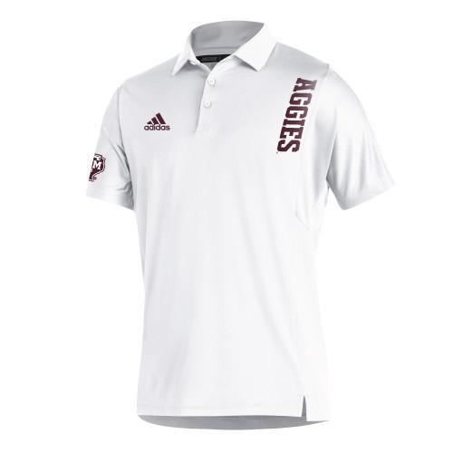 Adidas Men's White Sideline Coordinator Short Sleeve Polo
