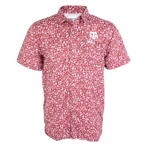 Columbia Men's Maroon Micro Print Super Slack Tide Short Sleeve Shirt