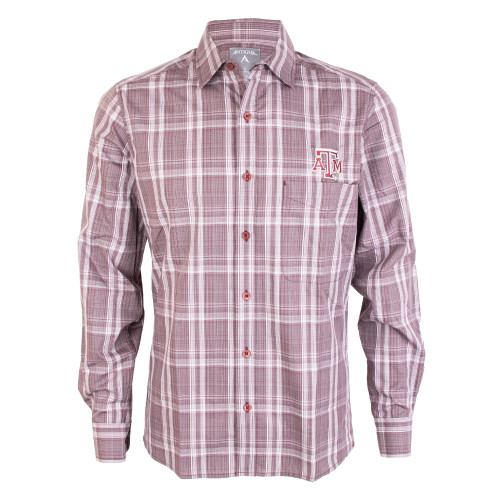 Antigua Men's Maroon, White and Steel Strive Ombre Plaid Long Sleeve Woven