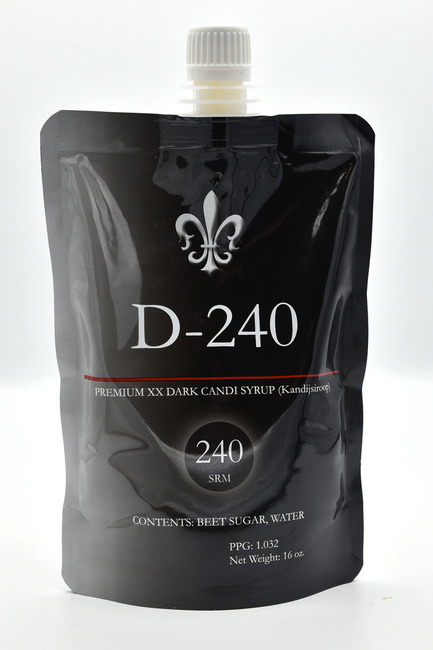 D-240 Candi Syrup is the richest and darkest candi syrup available on the market. Created to have a rich smooth palate, D-240 is a triple-dark syrup with hints of dark raisin, extra dark stone fruit and a roasted dark caramel back-palate. For ales that require full body and indescribable flavor that will set your ales apart.   Contents: Beet sugar, water. Specifications: SRM - 240, PPG - 1.032