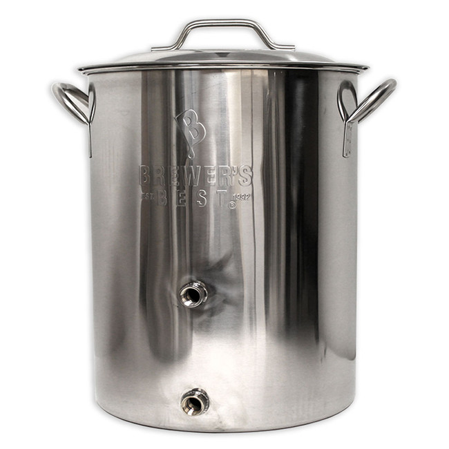 "Brewer's Best 16-gallon brew pot with 2 ports.  Bottom coupler 1.5"" off the bottom, used for ball valve. Top coupler is 6"" off the bottom, used for thermometer. Graduated volume markers from 1 to 14 gallons. Lid included. Wall and bottom thickness: 1 mm."