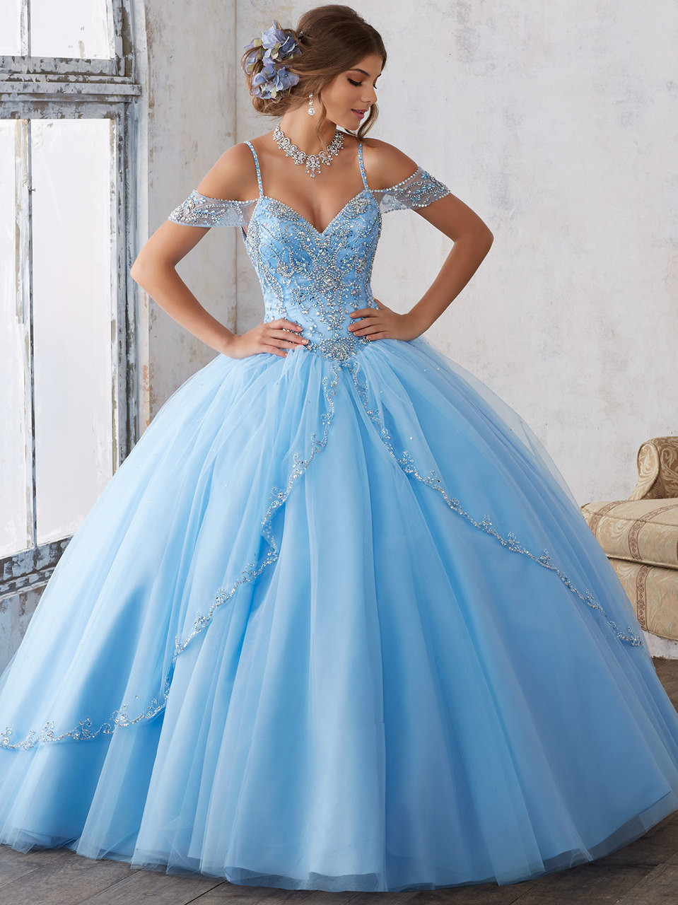 b60fae9045 Cold Shoulder Beaded Vizcaya Quinceanera Dress With Split Front Tulle Skirt  89135