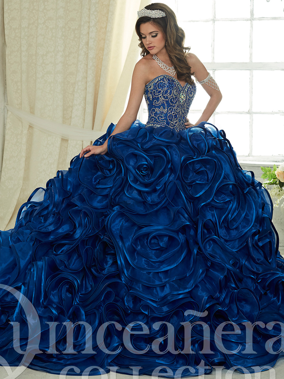 8a591d3403 royal blue quinceanera dress with ruffle skirt in organza and sweetheart  beaded bodice