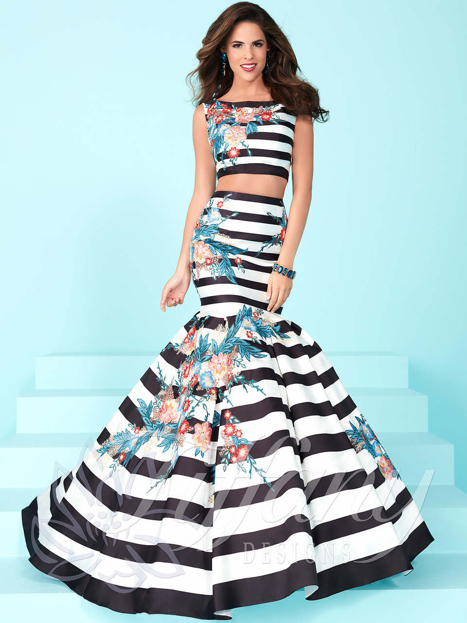 71194d85616a ... prom dress with stripes and floral prints size 8 by tiffany designs  16250. Free shipping